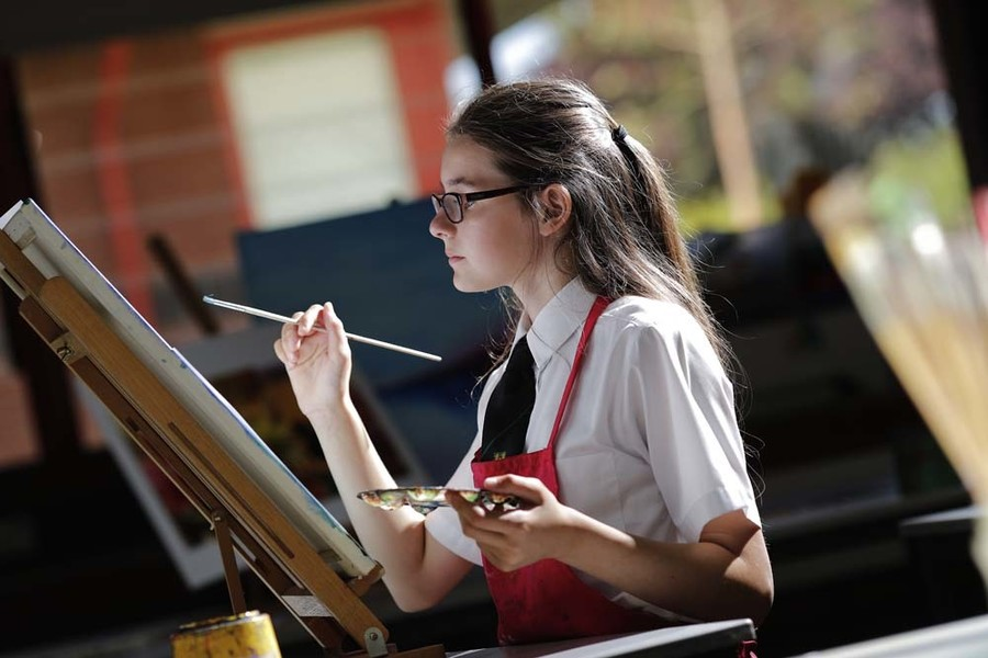Secondary student painting