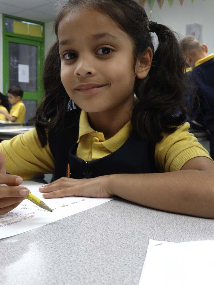 Primary pupil working in class