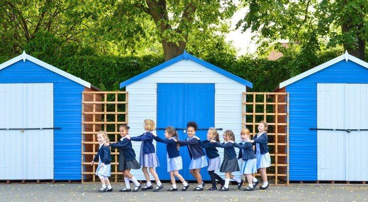 Children lined up in playground