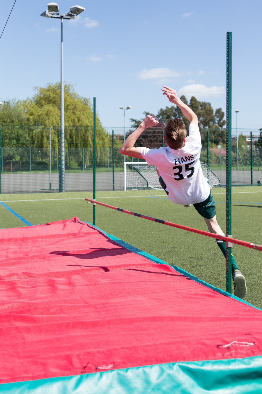 Student doing the high jump